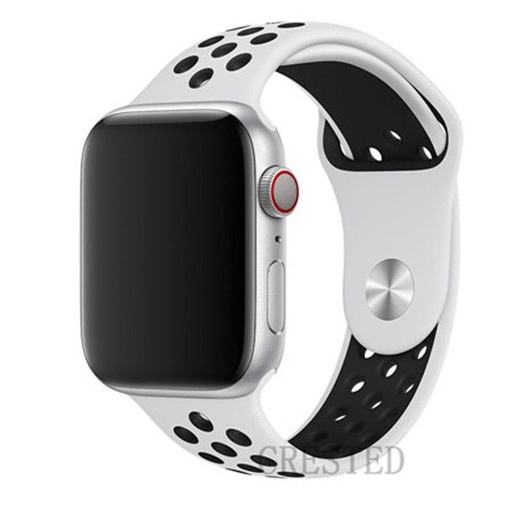 Спортивный ремешок для apple watch band 44 мм/40 мм apple watch 5 4 3 band iwatch band 5 42 мм/38 мм correa браслет ремень аксессуары для часов - Цвет ремешка: white black 21