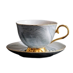 الرخام بنوم بنه السيراميك القهوة الفناجين وأطباقها مجموعة بعد الظهر فنجان شاي عشاق الهدايا (رمادي)