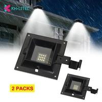 2 uds LED luz Solar para canalón Solar 12 LED impermeable blanco de la pared de luz para jardín Patio de seguridad Sensor Solar lámpara