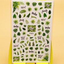 3d etiqueta do prego decalques folha verde grama design decoração da arte do prego adesivos sliders manicure acessórios unhas decoraciones