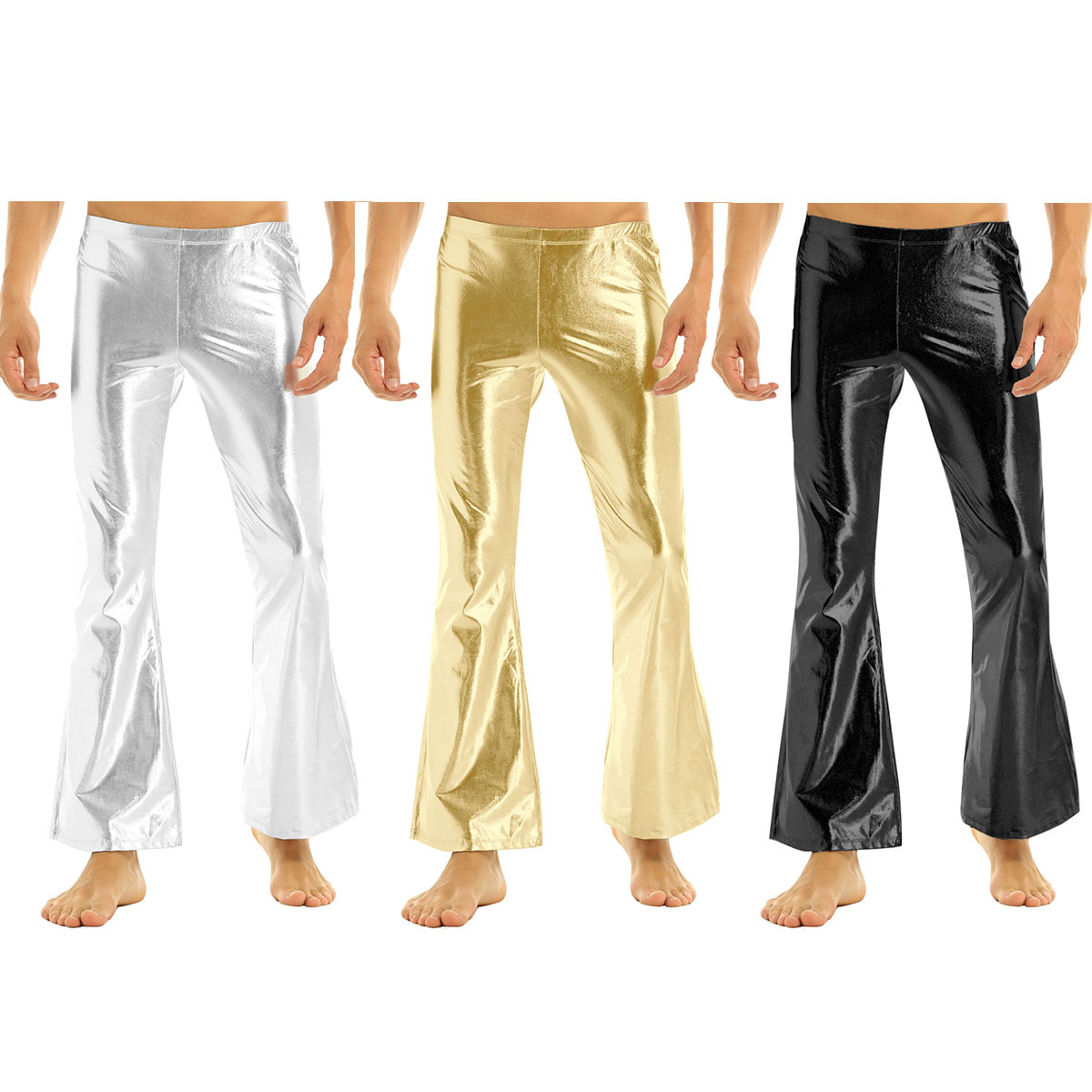 ChicTry Adults Mens Shiny Metallic Disco Pants with Bell Bottom Flared Long Pants Dude Costume Trousers for 70's Theme Parties 14