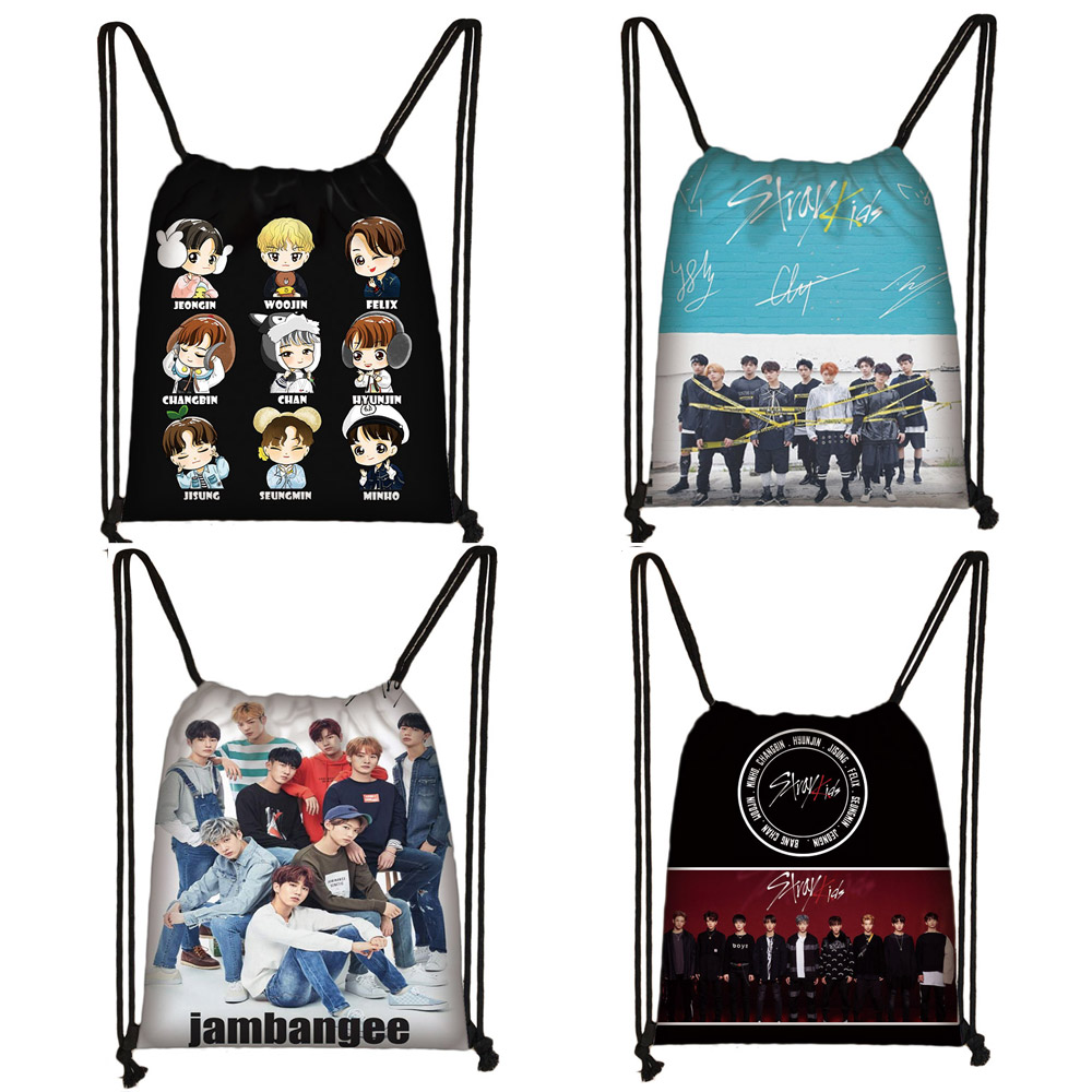 KPOP Stray Kids Drawstring Bag Women Storage Bag StrayKids MINHO JISUNG WOOJIN CHANGBIN FELIX Korean Backpack Girls Bookbag