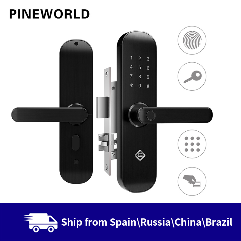 Bloqueo de huella digital biométrico de pino mundo cerradura inteligente de seguridad con contraseña de aplicación WiFi desbloqueo RFID, cerradura de puerta hoteles Control de Acceso solenoide de montaje de liberación 12V 0.4A Puerta de cierre electrónico