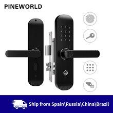 Биометрический замок с распознаванием отпечатков пальцев PINE WORLD, умный замок для безопасности с Wi Fi, разблокировкой по паролю через приложение и RFID, дверной замок для отелей