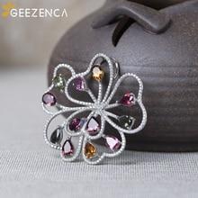 925 Sterling Silver Garnet Tourmaline Topaz Flower Pendants Fine Jewelry For Women Original Design Vintage Pendant Without Chain