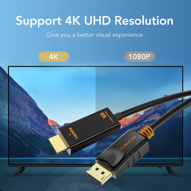 Cabletimeのdisplayport dp hdmi m/m 4 18k 60 60hzのコンバータdisplayport 1.2 hdtv用プロジェクターノートpc N001