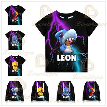 Shark Leon Star dzieci noszą dzieci bluza z kapturem strzelanka 3d bluza nowe chłopięce dziewczyny topy bluzy ubrania dla nastolatków tanie i dobre opinie BRAWL STARS POLIESTER CN (pochodzenie) Unisex Game W stylu rysunkowym Cartoon Spring Autumn As picture 3D Digital Print