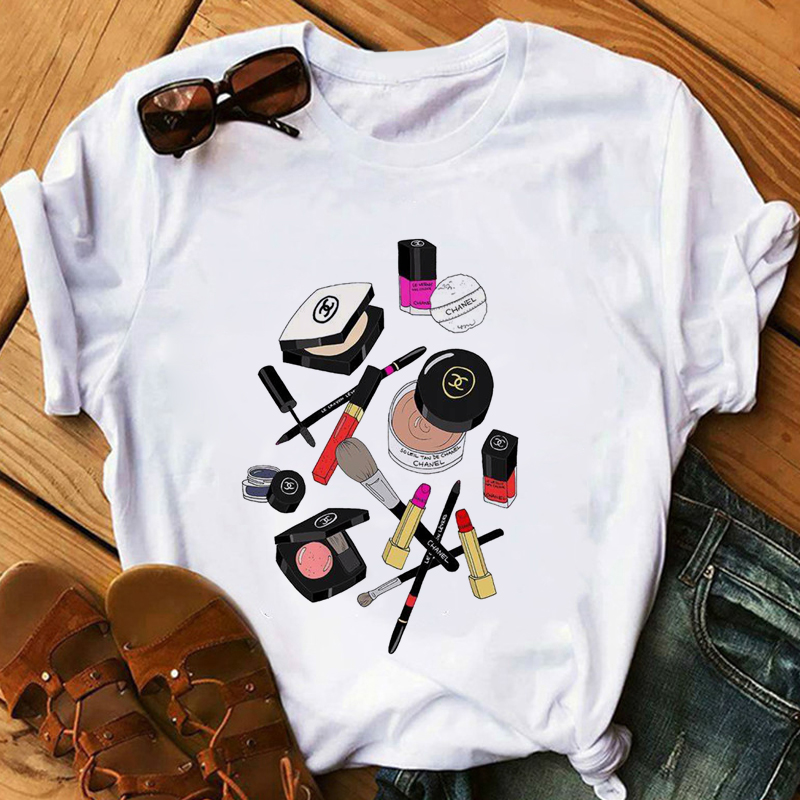 Red Lipstick T Shirt Women Perfumer Floral T-Shirts Girl Summer Shirt Lady Casual Sexy Lip T-shirt Gift For Girlfriend