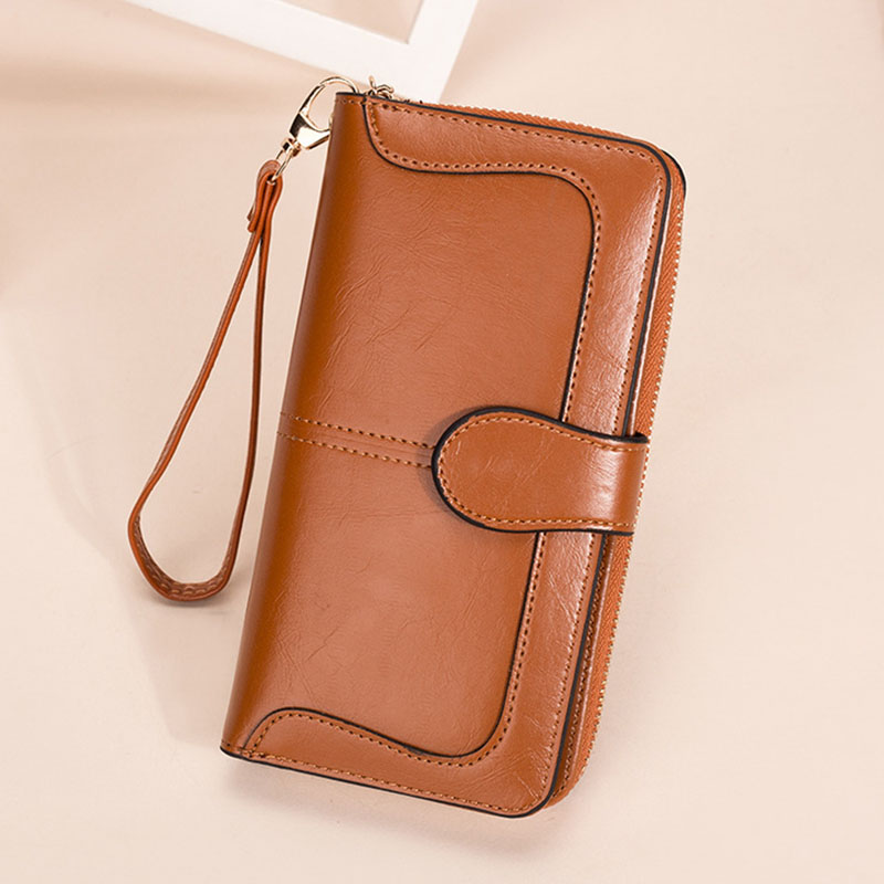 Leather Women's Wallets Fashion Solid Color Designer Long Purses Female Zipper Wallet Phone Bag Women Coin Purse Card Holder