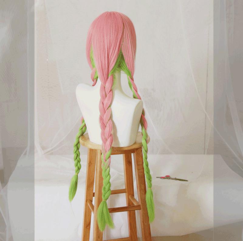 Anime Demon Slayer Kanroji Mitsuri Cosplay Wigs Kimetsu No Yaiba Long Pink Mix Green Braid Wig Synthetic Hair Peruca Ramaws Mitsuri kanroji @mitsurikanrojie 2 авг. anime demon slayer kanroji mitsuri