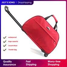JULYS SONG Bolsa de equipaje oxford con ruedas para hombre y mujer, Maleta de viaje con carro con ruedas