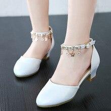 Bahar çocuk ayakkabı kızlar yüksek topuk prenses dans sandalet çocuklar deri beyaz ayakkabı moda kızlar parti elbise düğün ayakkabıları