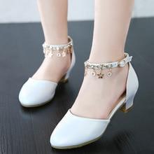 Wiosenne buty dla dzieci dziewczyny szpilki księżniczka taniec sandały dla dzieci skórzane białe buty moda sukienka dla dziewczynek na imprezę buty ślubne