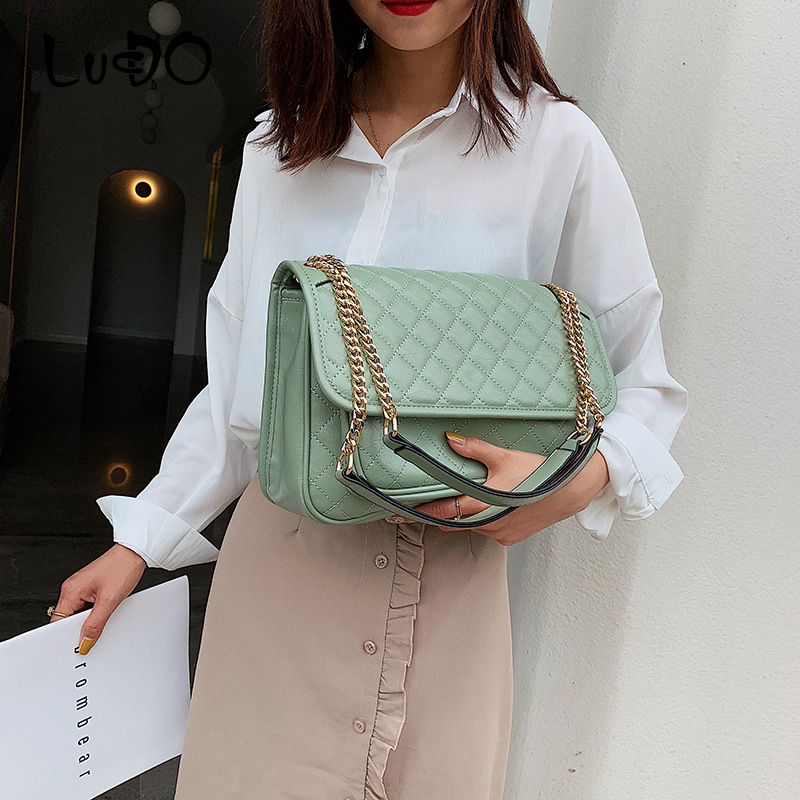 LUCDO Diamond Lattice Chain Luxury Crossbody Bag For Women 2020 Fashion Large Capacity Shoulder Messager Bag Ladies  Tote Bags