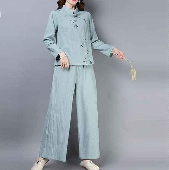 Neue baumwolle & leinen sommer tai chi kleidung weibliche gedruckt yoga wushu martial arts uniformen taijiquan uniformen tai chi anzüge