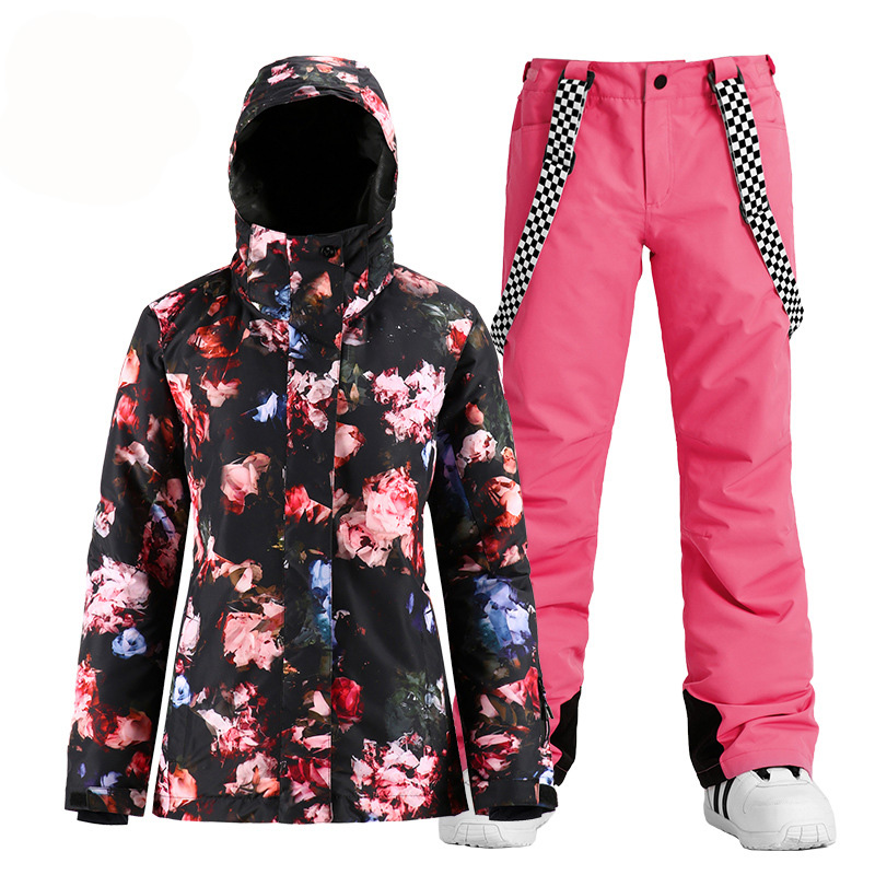 Fashion Chinese Style Women Snow Suit Wear Snowboard Clothing Waterproof Costumes Winter Outdoor Ski Jackets + Belt Pants Brand