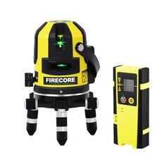 Firecore 5 Lijnen Lithium Batterij 360 Groene Laser Niveau Zelfnivellerende Met Outdoor Ontvanger Modus