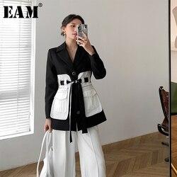 Женский блейзер с карманами EAM, черный свободный блейзер с отложным воротником и длинным рукавом, весна-осень 2020, 1X582