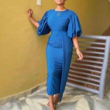 Reyal azul feminino puff vestido de manga elegante verão oversize impressão africana irregular longo maxi robe femme vestido festa jantar