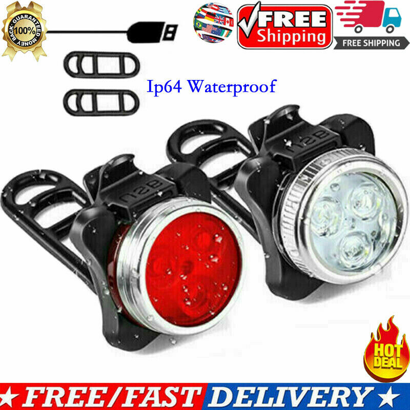 USB Rechargeable Bright LED Bike Lights Set Headlight Front Light Taillight Combinations LED Bicycle Bicycle Light