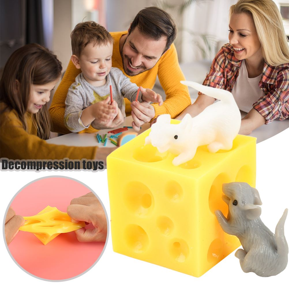 Cheese-Toy Fidget-Toys Mouse Seek-Stress Sloth Hide 2-Squishable Figures And img1