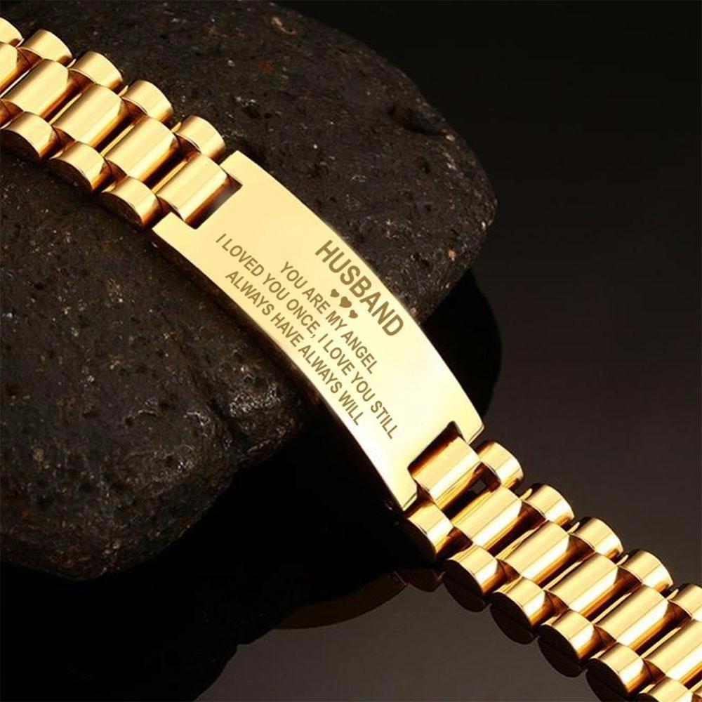 Vnox Black Men's Stainless Steel Engrave ID Bracelet Watch Link Design 20cm Length Multicolor Unique Meaningful Husband Gift