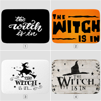 Bathroom Mat The Witch Is In Pattern Rubber Mat Halloween Carpet for Bedroom Kitchen Door Felt Rug Party Decor 15.7*23.6in image