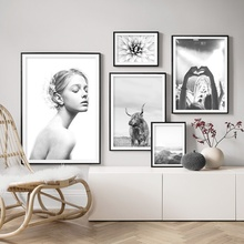 Flower Fashion Girl Yak Landscape Nordic Posters And Prints Wall Art Canvas Painting Black White Pictures For Living Room