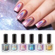 От BORN PRETTY-Holographics место лак для ногтей красочные серии 6 мл Лаки блестящие сверкающие ногти 3-в-1 чернила на водной основе лаки для ногтей