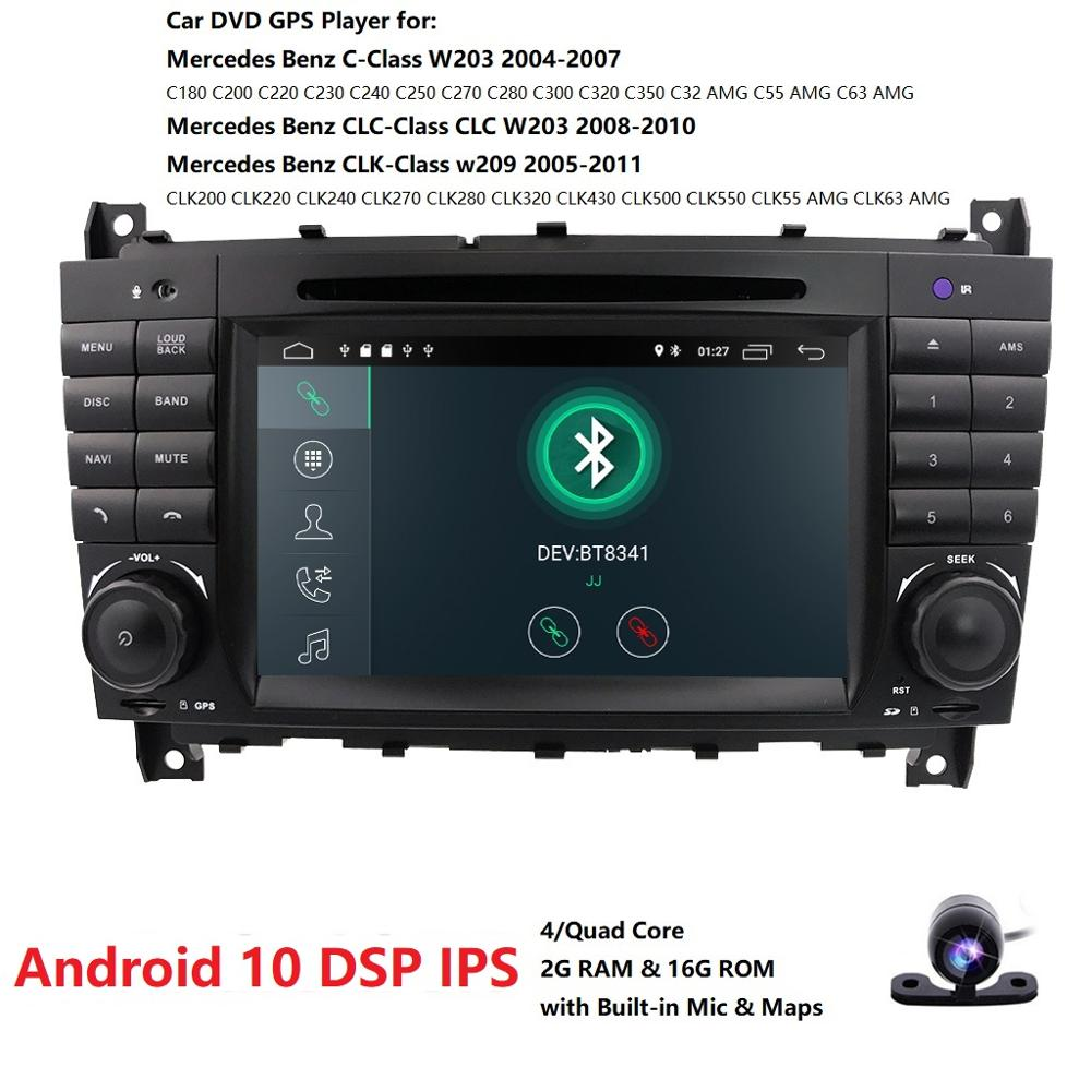 <font><b>Android</b></font> 10.0 7 Inch Car DVD GPS For Mercedes/Benz <font><b>W203</b></font> W209 W219 A-Class A160 C-Class C180 C200 CLK200 radio dab Free Camera image