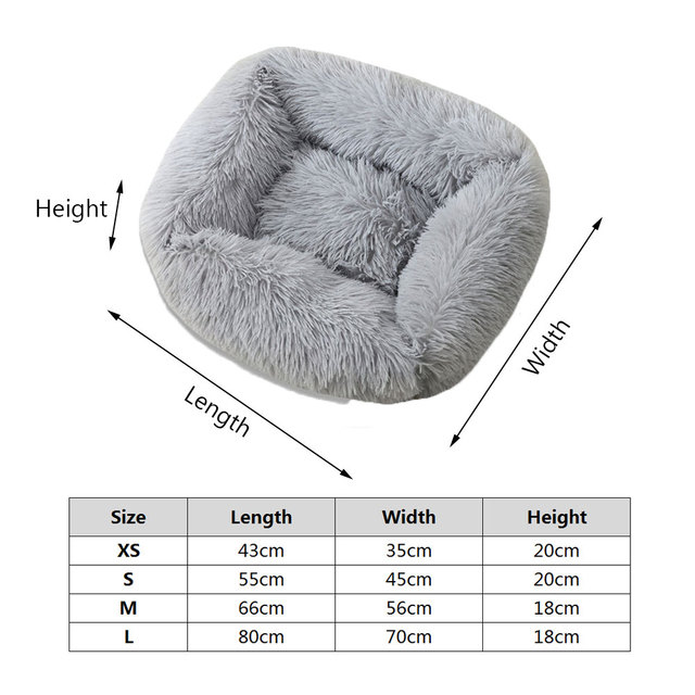 Plush Cat Bed House Warm Soft Square Cats Nest Winter Pet Cushion Mats For Small Dogs Cats Pet Basket Puppy Kennel Pets Supplies 6