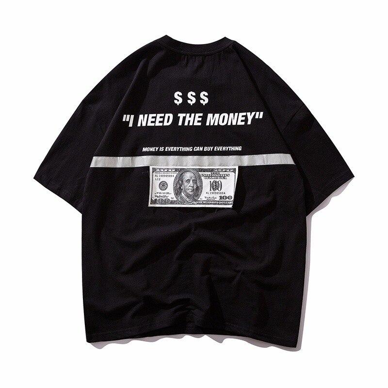 Мужские футболки в стиле хип-хоп, доллар США, светоотражающая полоска, принт Марии, хип-хоп футболки, мужская уличная одежда 2019, модные летни...