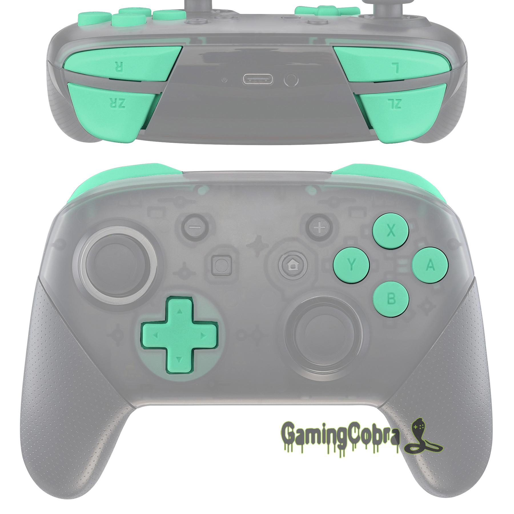 Soft Touch Mint Green Repair ABXY D-pad ZR ZL L R Keys Replacement Full Set Buttons w/ Tools for Nintendo Switch Pro Controller