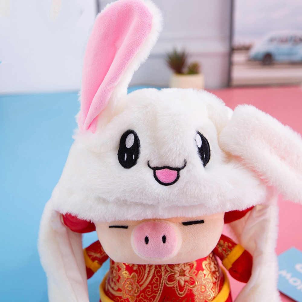 حار حديثا لطيف مضحك تتحرك أرنب الأذن أفخم قبعة وسادة هوائية قبعة LED ألعاب من القطيفة الأذن حتى أسفل لينة وسادة هوائية لعبة قبعة للفتيات الاطفال هدية