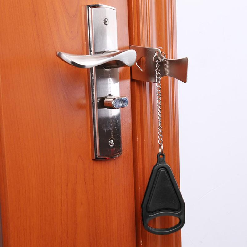 Iron Portable Door Lock Self-defense Door Stop Quick Installation Travel Hotel Accommodation Safety Stopper Hardware