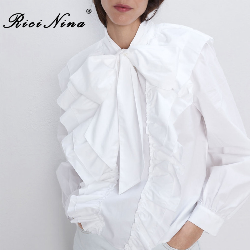 RICININA White Shirt Women Blouse Long Sleeve Ruffles Bow Lace Up Office Women Shirts Elegant Loose Ladies Blouses And Tops 2019
