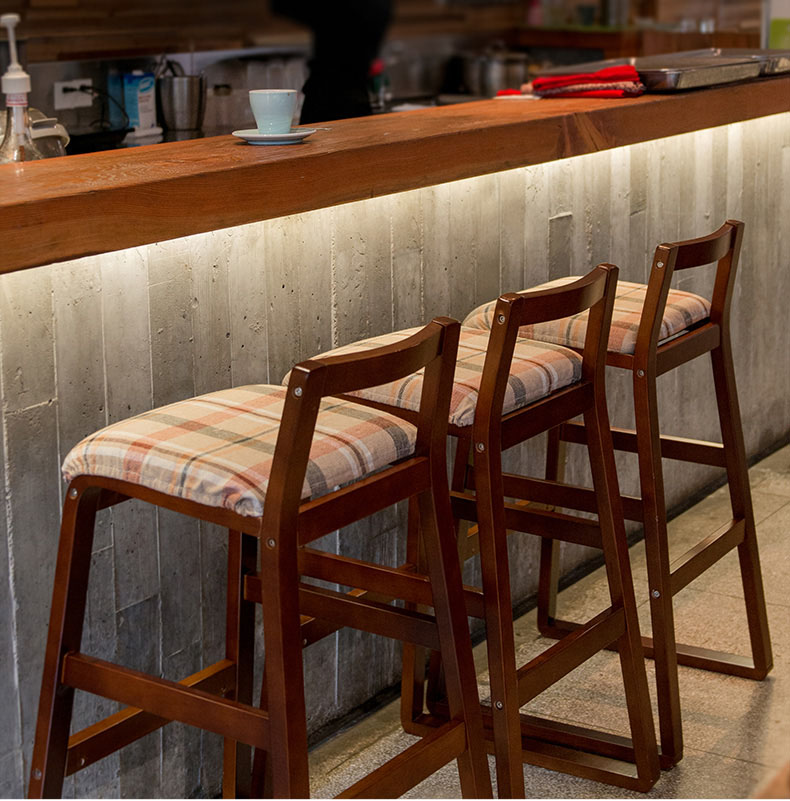 Bar Stools Retro Style Solid Wood Creative High Bench Washable Cloth Cover Minimalist Chair For Family Business Bar Cafe Hotel