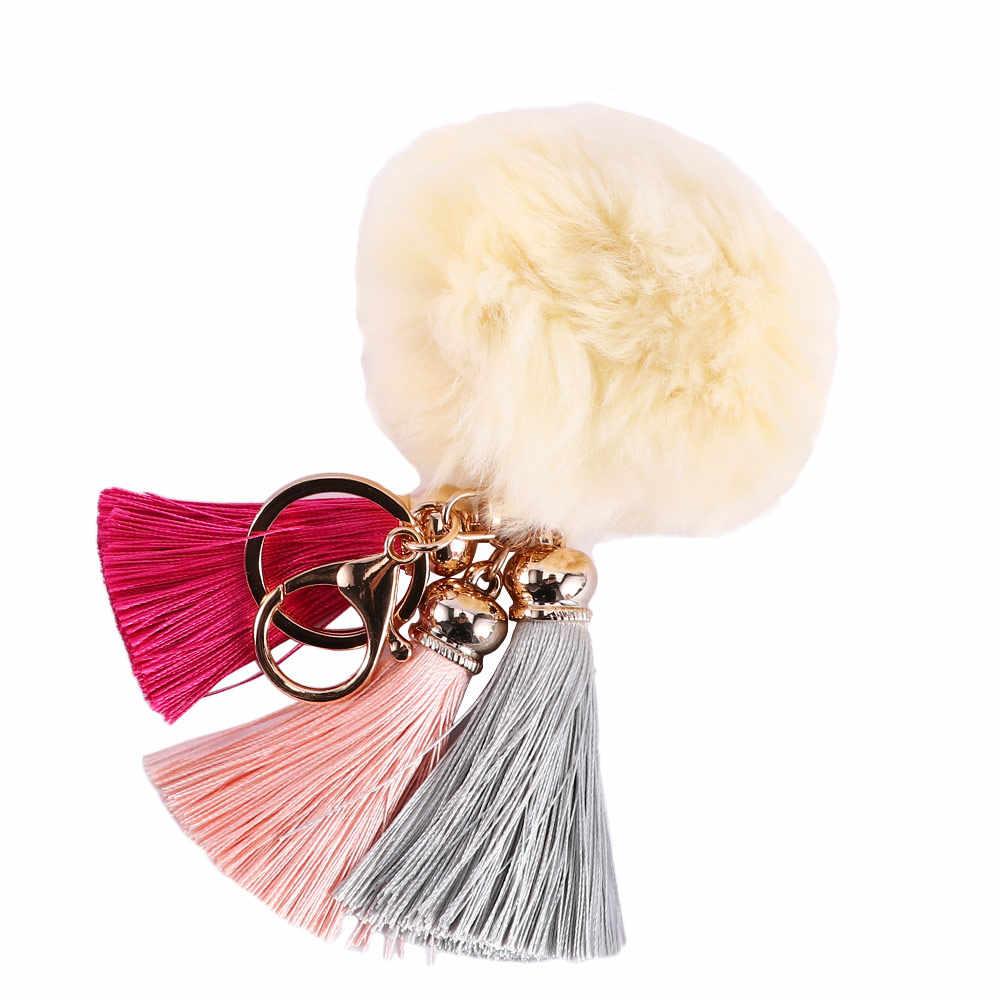 Pompom Bola de pelúcia Borla Chaveiro Carro Pingente Anel Chave Bonito Chaveiro Bola De Pêlo Mulheres Hairball Chaveiro Saco Acessórios