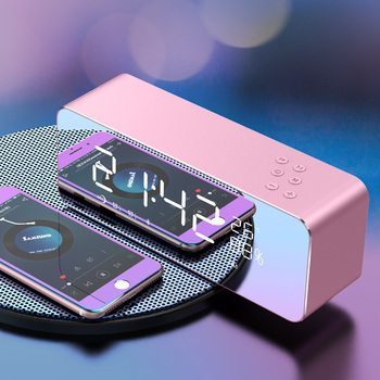 portable Bluetooth wireless music alarm clock Speaker home simple led mirror digital alarm clock modern table clocks 2020 II50NZ