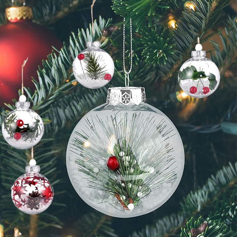 3 шт. 6/8/10 см прозрачный подвесной шар для рождественской елки, акриловый прозрачный шар для рождества, заполняемый шар, украшение, подарок, Р...