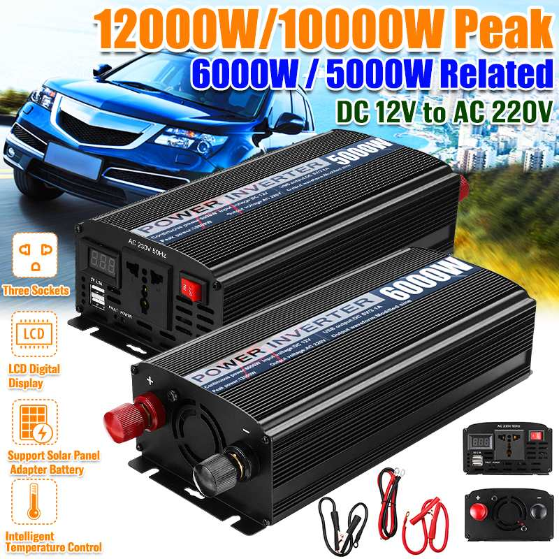 12000W /10000W Car Inverter DC12V To AC220V LED Display Dual USB Modified Sine Wave Power Inverter Voltage Convertor Transformer