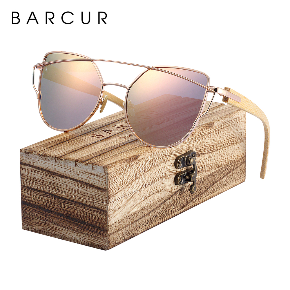 BARCUR Bamboo Cat Eye Sunglasses Polarized Metal Frame Wood Glasses Lady Luxury Fashion Sun Shades With Box Free 1