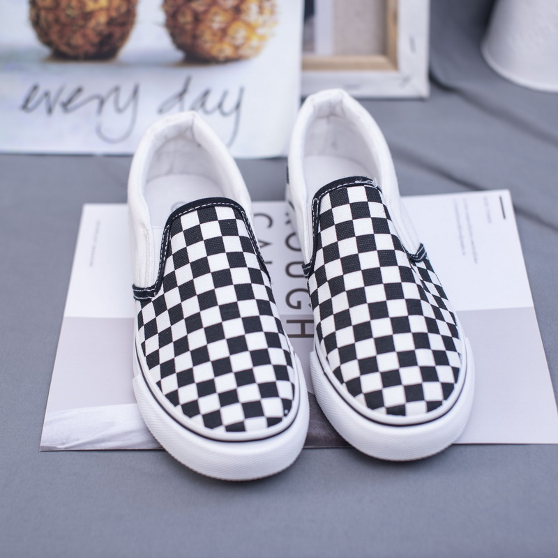 Men New Women's Shoes Black White Plaid Loafers Lazy Casual Flat Bottom  Foot Canvas Casualhot