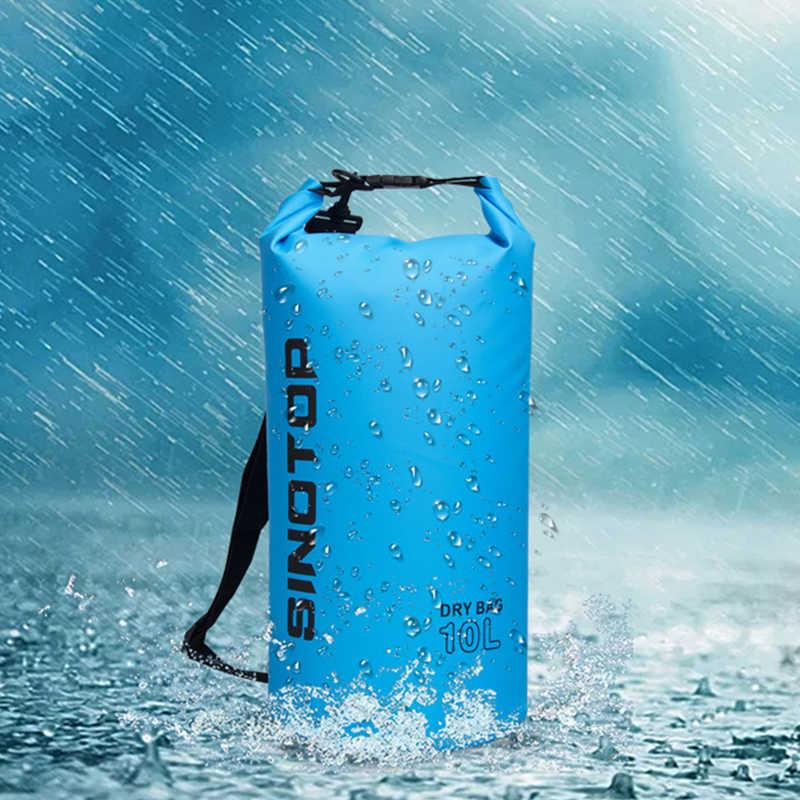 10L Rolltop Tas Tahan Air Pack Karung Kayak Drysack Tas Ransel Tahan Air Luar Ruangan Penyimpanan PVC River Menyelam Tas