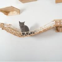 Cat Wall Mount Wood Ladder Cat Scratcher Post Tree Kitten Climbing Bridge Lounge Pet Cat Bed Cat Furniture Jumping Platform W201