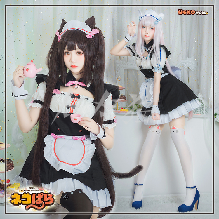 Game NEKOPARA Chocolat Vanilla Maid Dress Cosplay Costume With Hairband