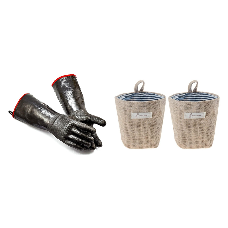 1Pair High Heat Gloves Griller Insulated Cooking Gloves & 2X Mini Hanging Storage Bag Cotton Linen Small Organizer