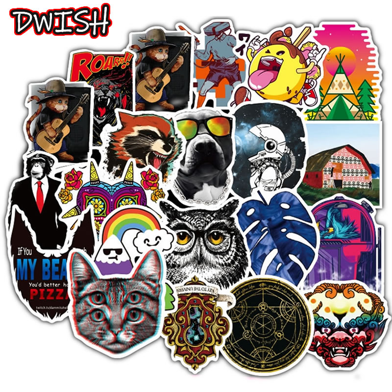 100pcs/Pack PVC Waterproof Kawaii Animal Cat Stickers Skateboard Suitcase Motorcycle Guitar Girl Funny Graffiti Sticker Kid Toy