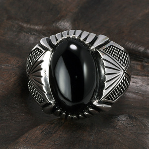 Image 4 - Guaranteed 925 Sterling Silver Rings Antique Turkey Ring For Men Black Ring With Stone Natural Onyx Turkish Male Jewelry