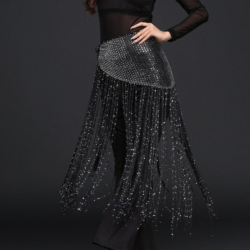 Black sequin sarong hip belt